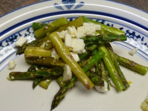 Grilled asparagus and feta salad