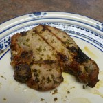 Grilled pork chops with basil garlic rub