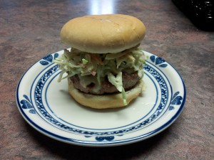Pork Burger with Creamy Spiced Coleslaw