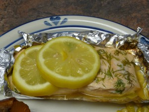 Grilled dill salmon in foil