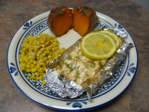 Grilled dill salmon in foil with Sweet Potato and Dill Corn
